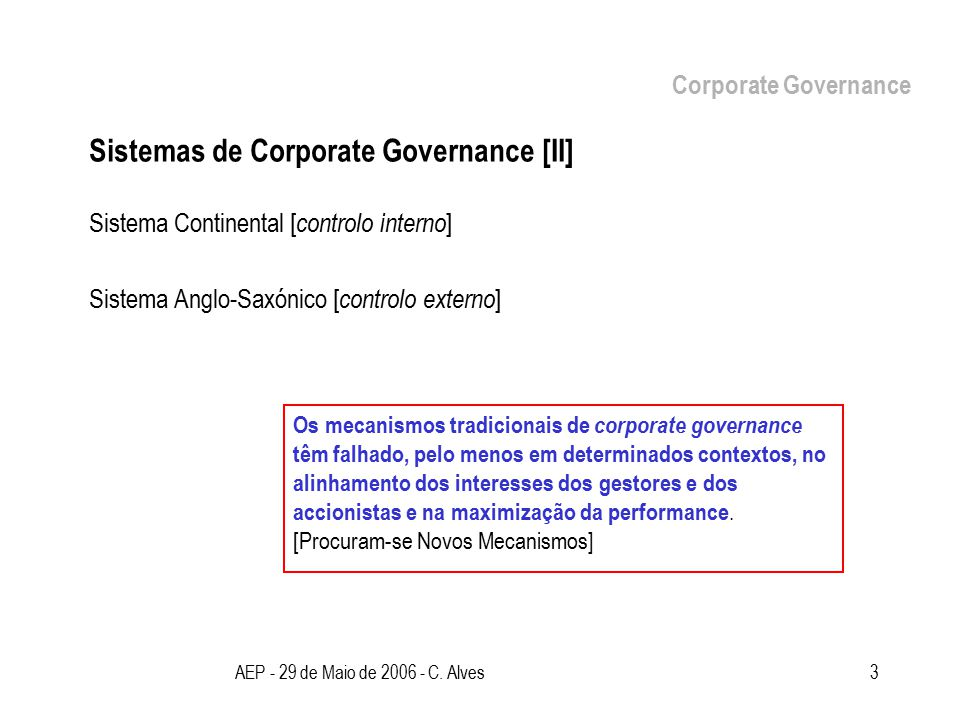 Sistemas de Corporate Governance [II]